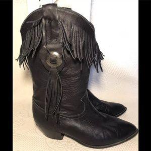 ACME black leather fringe boots
